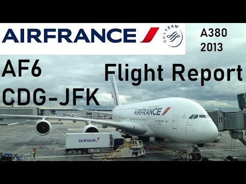 Air France flight AF6 - Paris CDG to New York JFK - Airbus A380-800 *Full Flight HD*