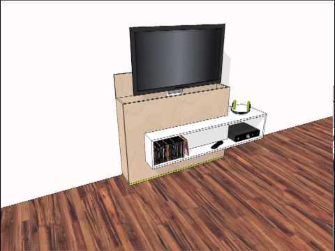 Animatie van zelfbouw tv-meubel met lift Astor - YouTube