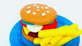 Mancare din Play-Doh | Cum sa faci un Hamburger din Play-Doh | Jucarii Noi Fireflies Kids