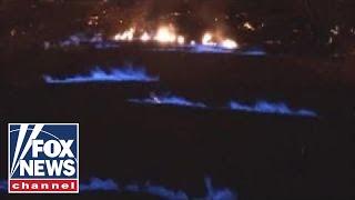 Eerie blue flames emerge from Hawaii's Kilauea Volcano
