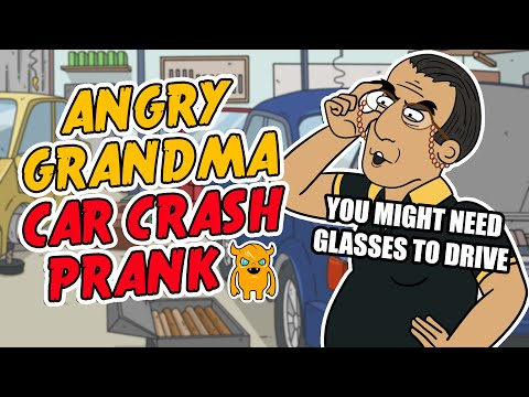 Angry Grandma Car Crash Prank - Ownage Pranks