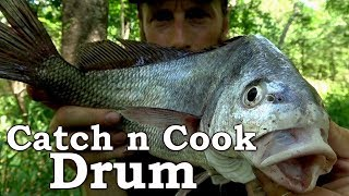 Catch and Cook OUCH HOOKED in the HAND, Nasty CHIGGER BITES! Ep20 | Freshwater DRUM on a STICK!