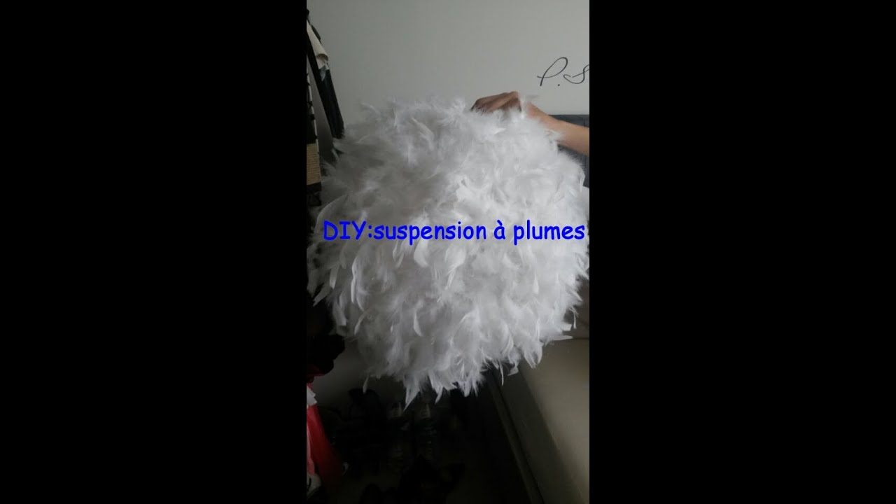 diy faire une suspension a plumes chandelier feather youtube. Black Bedroom Furniture Sets. Home Design Ideas