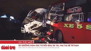 Xe giường nằm Cúc Tư đối đầu xe tải, hai tài xế tử nạn