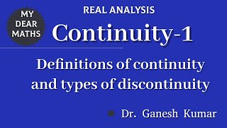 1 - Continuity : Types of Discontinuity