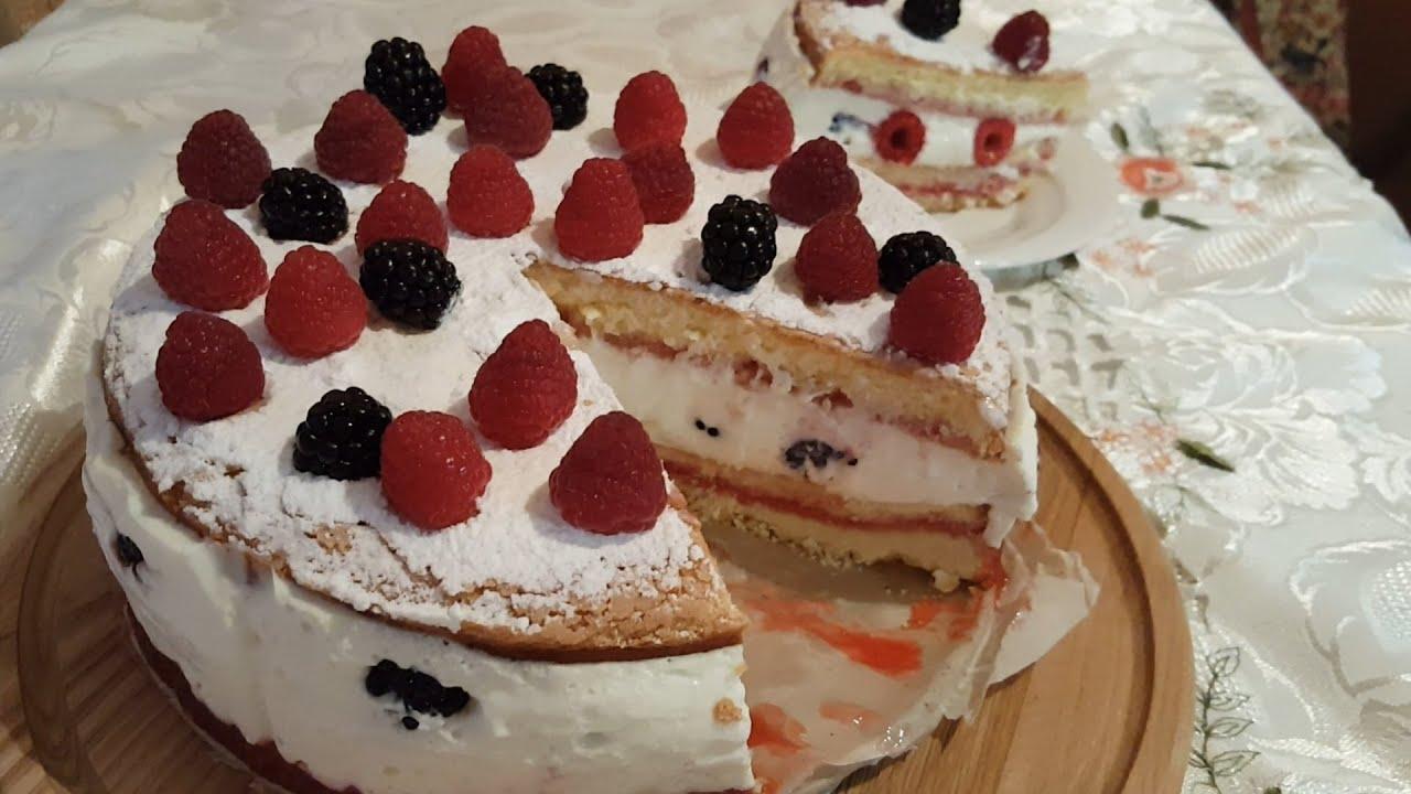 Как сделать малиновый торт летний в моей кофейне 727