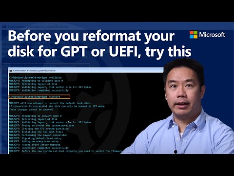 Convert BIOS / MBR to UEFI / GPT without reformatting - MBR2GPT tool   Prepare for Windows 11