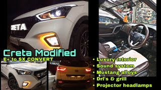 Creta e+ to sx modified in only ₹50k | top model projector head lamps only ₹15,000 | luxury interior