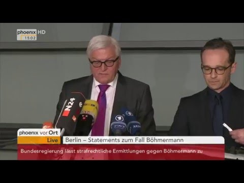 "Strafverfolgung im Fall ""Jan Böhmermann"": PK mit Frank-Walter Steinmeier & Heiko Maas am 15.04.2016"