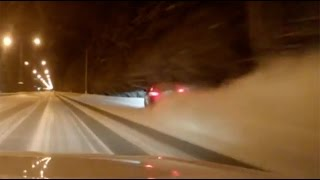 Dashcam Accident: Fatal high-speed street race crash on snowy Siberian road