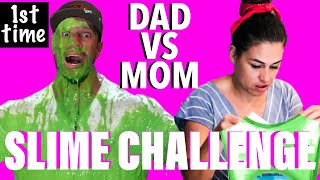 MOM vs DAD Slime Challenge! - First time making SLIME - Howie Roll