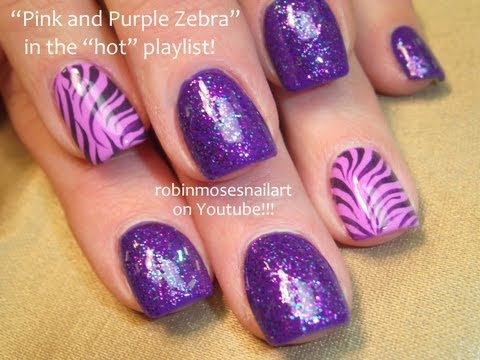Pink and Purple Zebra Nail Art