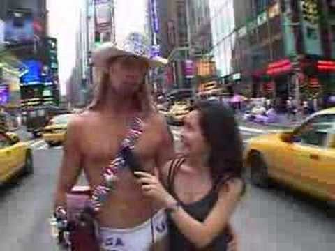 Cute Japanese Girl with Naked Cowboy