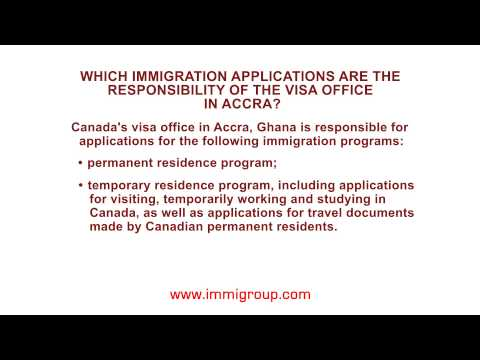 Which immigration applications are the responsibility of the visa office in Accra?