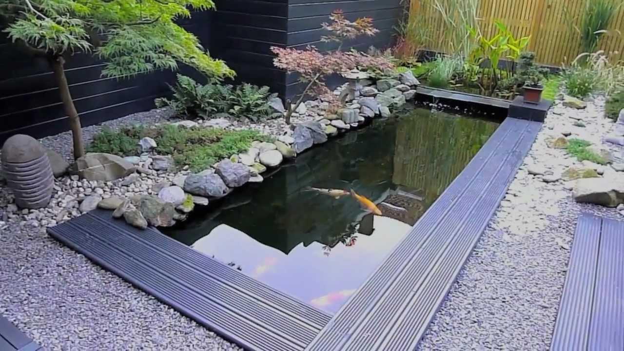 Koi vijver in japanse tuin youtube for Aanleg koivijver