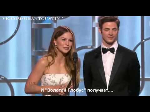 Grant Gustin and Melissa Benoist at the Golden Globe 2016 [RUS SUB]