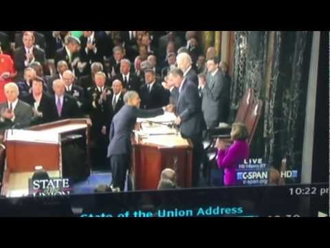 John Boehner Handshake Pull on President Barack Obama at State of the Union Address