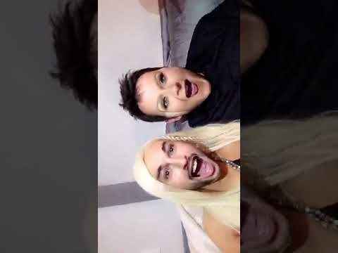 Christina Aguilera and Matthew Rutler face swapping on Snapchat
