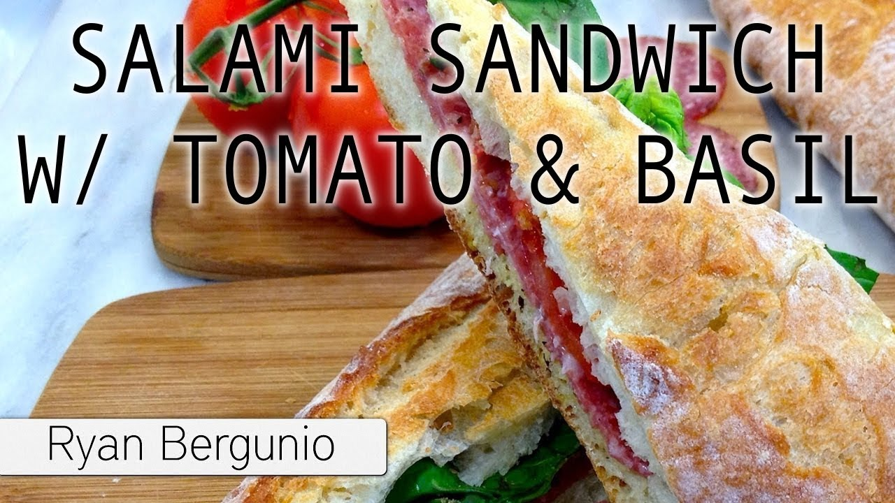 SALAMI SANDWICH with tomatoes & basil on french baguette ...