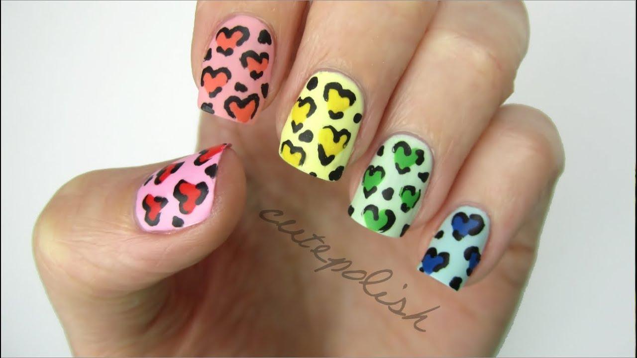 Rainbow Heart Leopard Nails