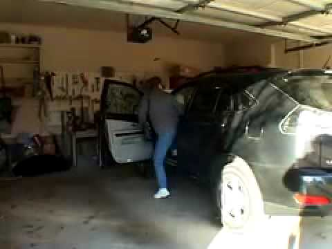Brief demonstration of garage door break in and solutions.