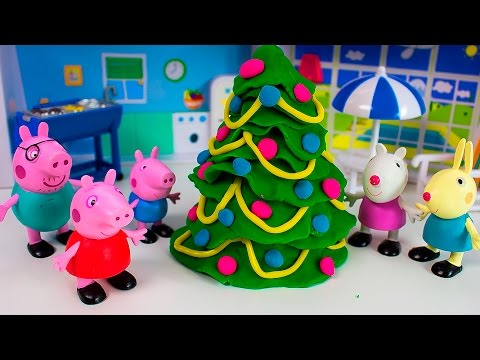 Play Doh Peppa Pig Christmas Tree - How To Make Christmas with Play Doh