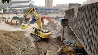 Construction equipment at building project in Seattle Washington