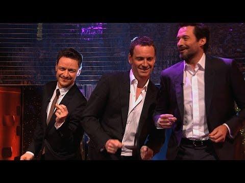 Hugh Jackman, Michael Fassbender & James McAvoy dance to Blurred Lines - The Graham Norton Show