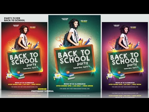 Photoshop Basic Tutorial Make a Party Flyer Back To School