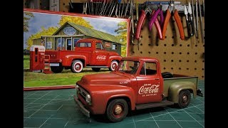 AMT 1953 Ford F100 Pickup Coca Cola 1/25 Scale Model Kit Build Review AMT1144
