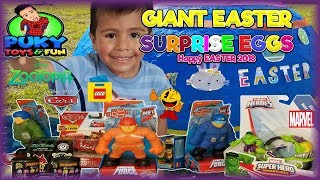 GIANT EASTER EGG AND EGGS AROUND FILLED WITH Disney Toys and Candy - Puky Toys&Fun
