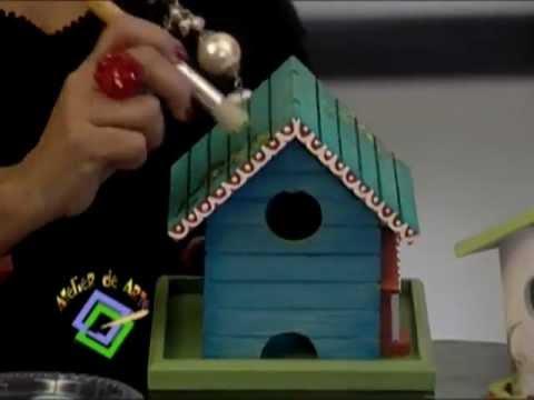 Atelier tv soraya medina pintura de casitas de youtube - Decorar madera con pintura ...