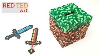 Minecraft DIY Craft - Perler Bead Moneybox (with Captions)