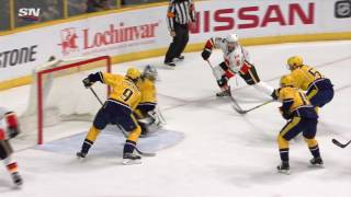 Giordano banks goal in off Forsberg and Flames win in OT
