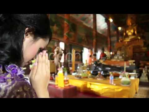 Stock Footage - Asian Girl Praying In Temple - Cambodia 8 | VideoHive