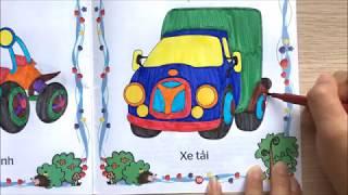 Chị Chim Xinh TÔ MÀU CÁC LOẠI XE PHƯƠNG TIỆN GIAO THÔNG - Coloring pages for kids