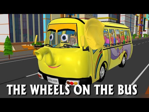 Wheels on the Bus Go Round And Round - 3D Animation Nursery Rhymes & Songs for Children