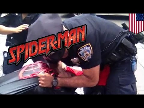Spider-man Punches Ny Cop: Spidey Goes Crazy On Times Square Cop video