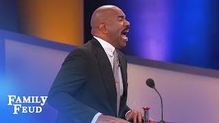 Contestant Lisa makes Steve Harvey NERVOUS! | Family Feud