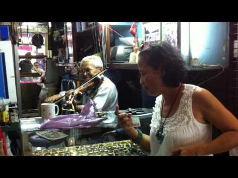 Jin Singing With Captain Keawpukdee @ His Buddha Shop In Bangkok, Thailand 6-11-2011