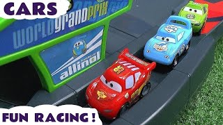 Disney Pixar Cars Micro Drifters Toys race with Lightning McQueen and Mater