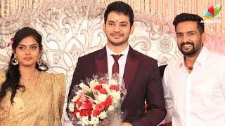 Santhanam, Jayam Ravi and Udhayanidhi at actor Sethuraman and Uma wedding reception   Marriage