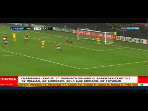 Milan – Bate Borisov 2-0 Highlights 19/10/2011 Sky Sport 24 HD