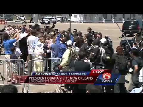 President Obama lands, meets leaders in New Orleans for Katrina anniversary