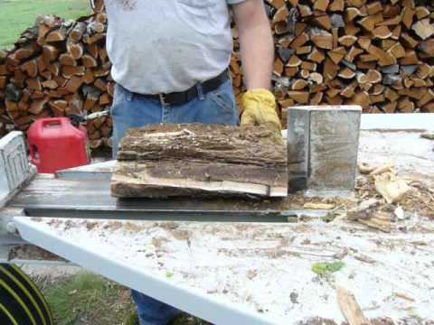 Kinetic flywheel wood/log splitter.