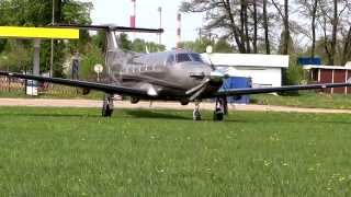 PC-12 Pilatus Aircraft take-off lotnisko AZM Płock 2012