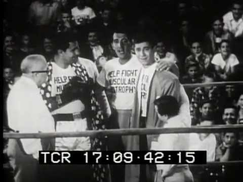 Dean Martin Jerry Lewis Vs. Rocky Marciano for MDA 1954 newsreel