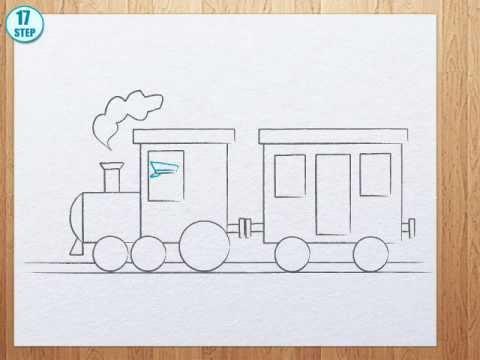Видео как нарисовать поезд с вагонами