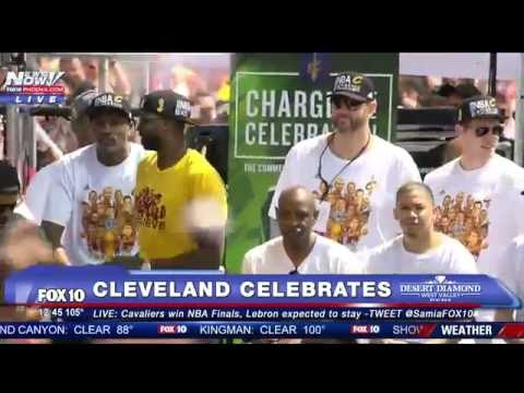 FNN: NBA Champs Cleveland Cavaliers Celebrate After Finals Win, Thousands Attend - FULL RALLY