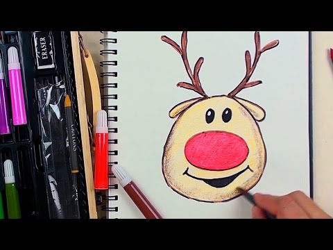 How to Draw Rudolph the Red Nosed Reindeer Emoji Step by Step for Beginners Kiddy Color art Kit